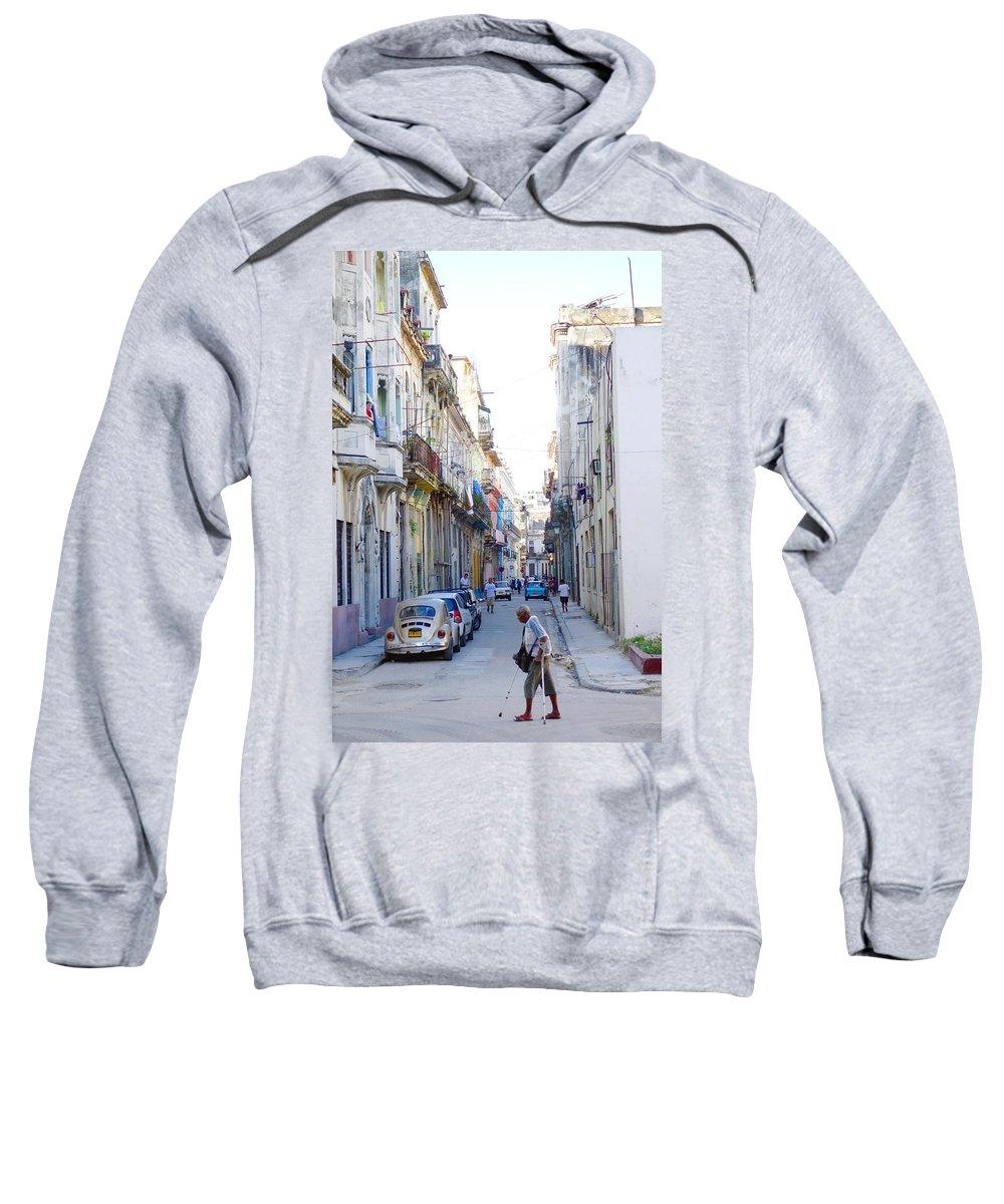 Habana Sweatshirt featuring the photograph Habana Street by Valentino Visentini