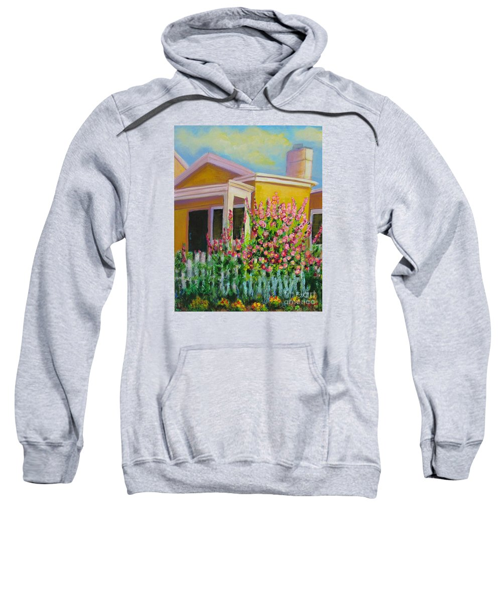 Hollyhock Sweatshirt featuring the painting Hot Hollyhocks by Laurie Morgan