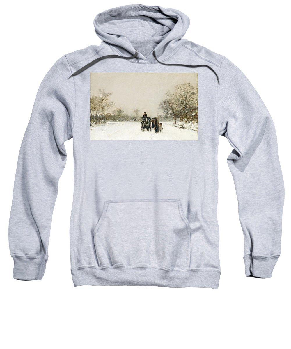 Winter Sweatshirt featuring the painting In The Snow by Luigi Loir