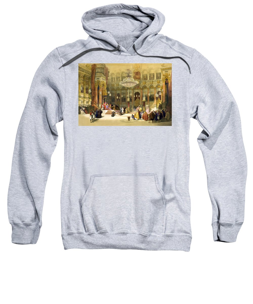 Greek Sweatshirt featuring the photograph Inside The Church Of The Holy Sepulchre by Munir Alawi
