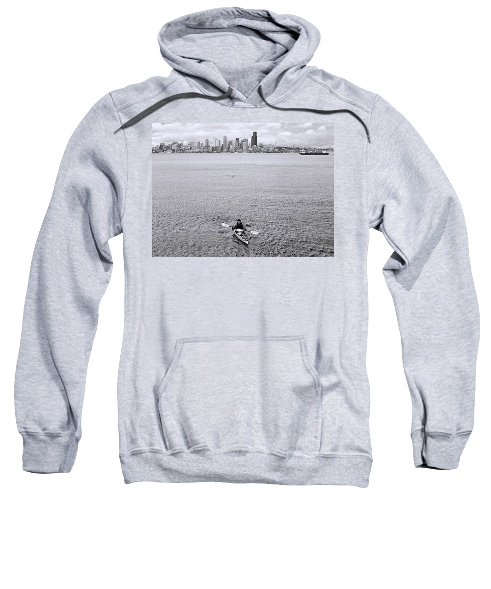 Black And White Photograph Sweatshirt featuring the photograph Kayaking Elliot Bay by Allen Beatty