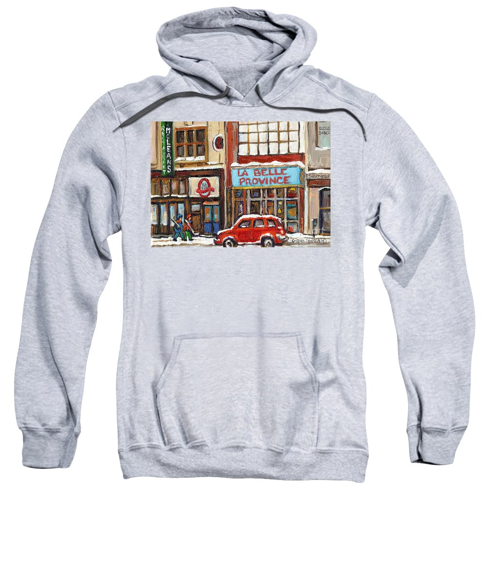 Montreal Sweatshirt featuring the painting Mcleans Irish Pub Montreal by Carole Spandau