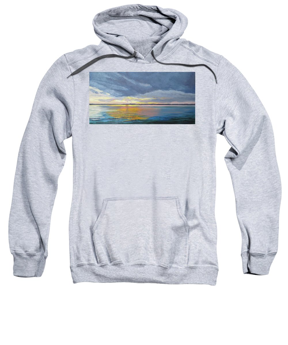 Seascape Sweatshirt featuring the painting Mike's Sunset II by Lea Novak