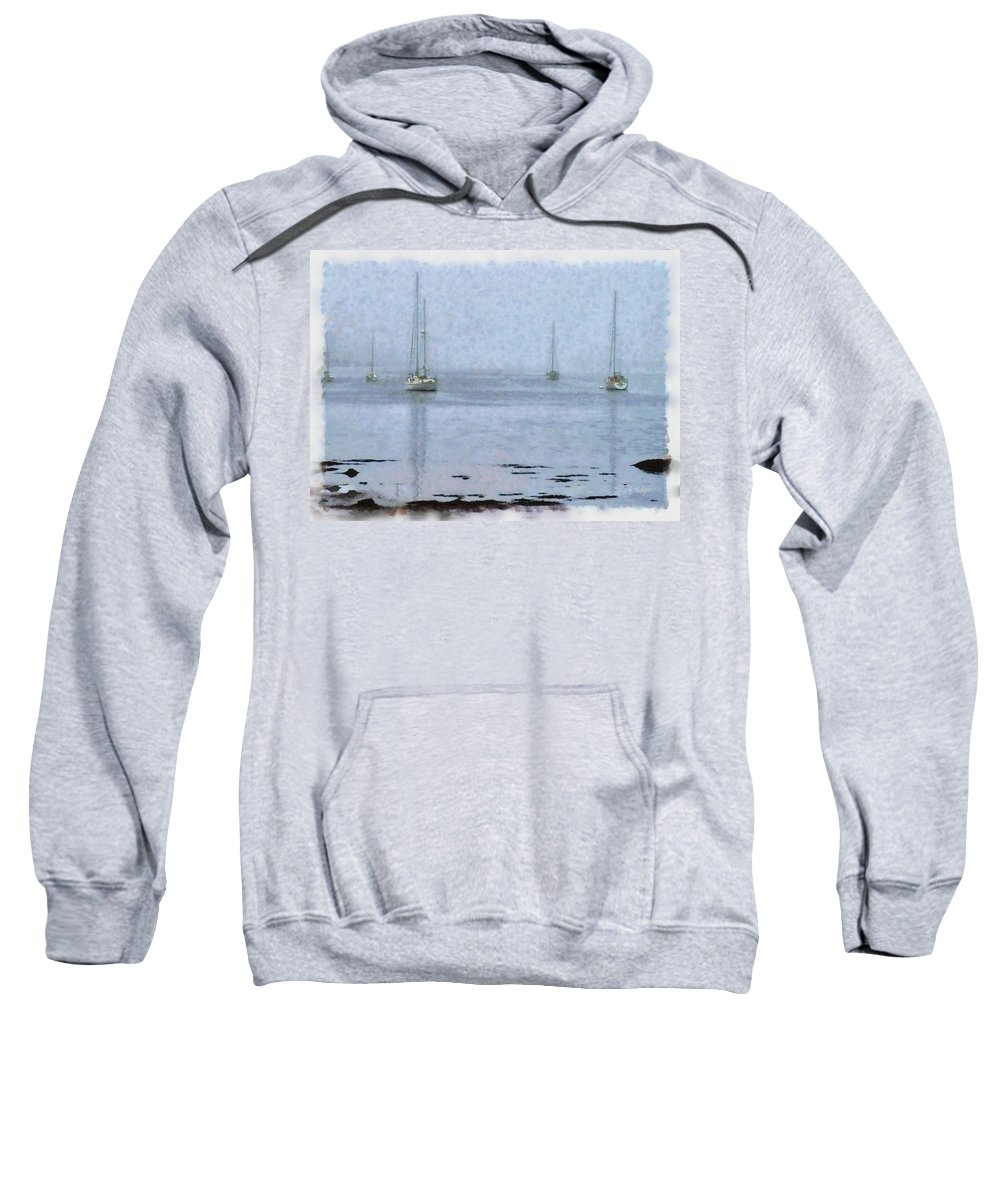 New England Coastline Sweatshirt featuring the photograph Misty Sails Upon The Water by Jeff Folger