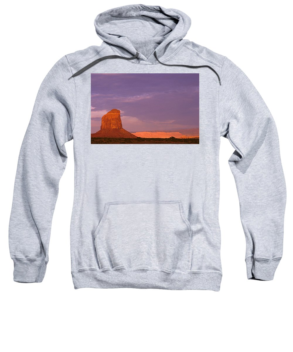 Adventure Sweatshirt featuring the photograph Monument Valley Red Rock Formations At Sunrise by Jim Corwin