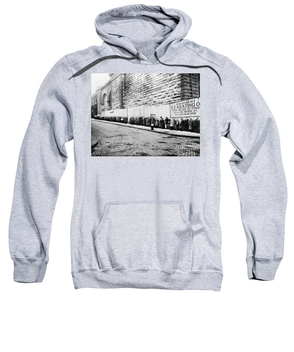 1930 Sweatshirt featuring the photograph New York City Bread Line by Granger