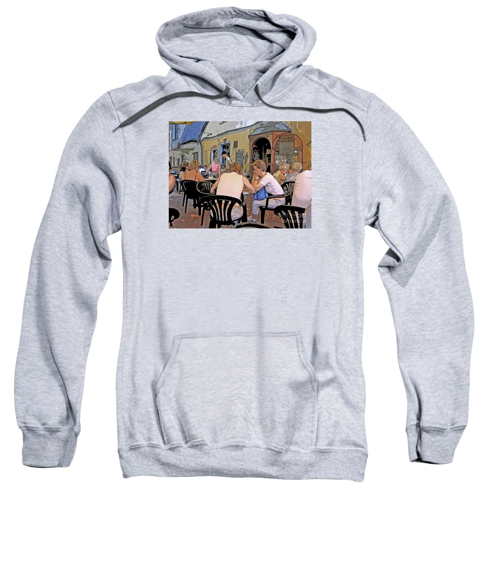 Austria Sweatshirt featuring the photograph Outside Seating by Ann Horn
