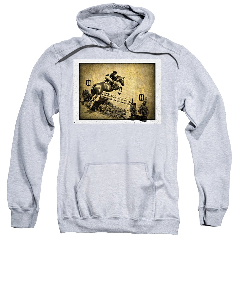 Horse Jumping Sweatshirt featuring the photograph Over by Alice Gipson
