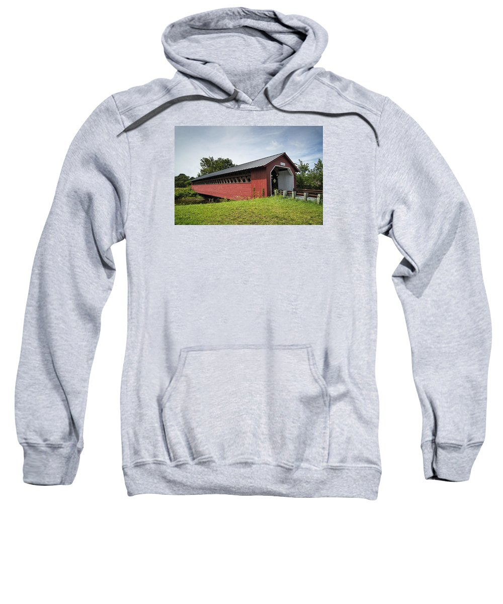Bridge Sweatshirt featuring the photograph Paper Mill Covered Bridge by Ray Summers Photography