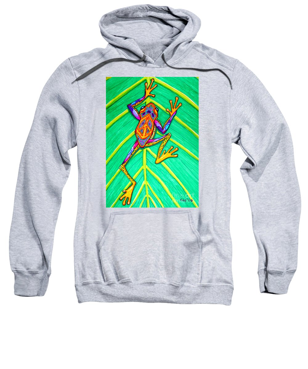 Frog Sweatshirt featuring the mixed media Peace Frog by Nick Gustafson