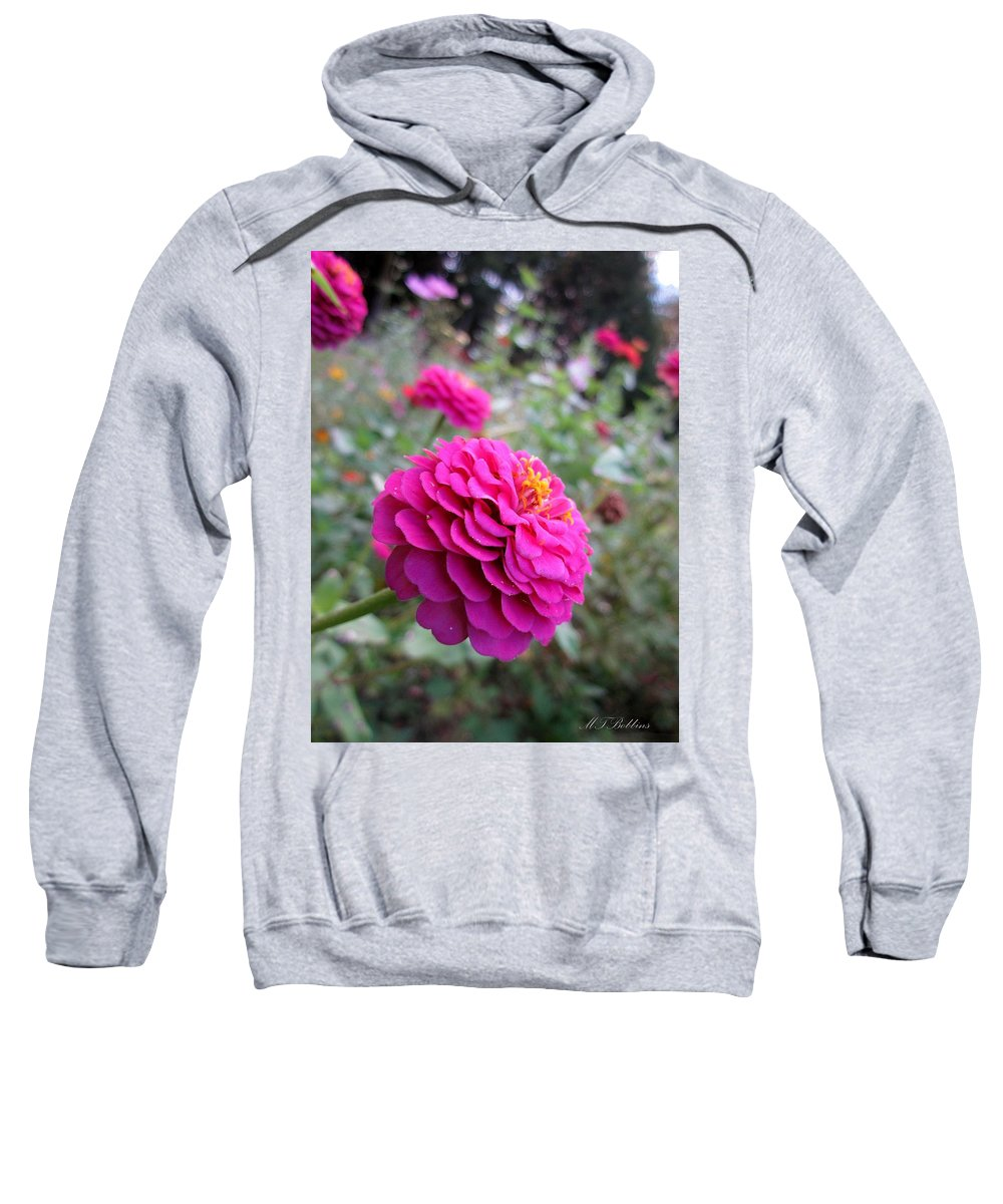 Zinnias Sweatshirt featuring the photograph Pink Zinnias by MTBobbins Photography
