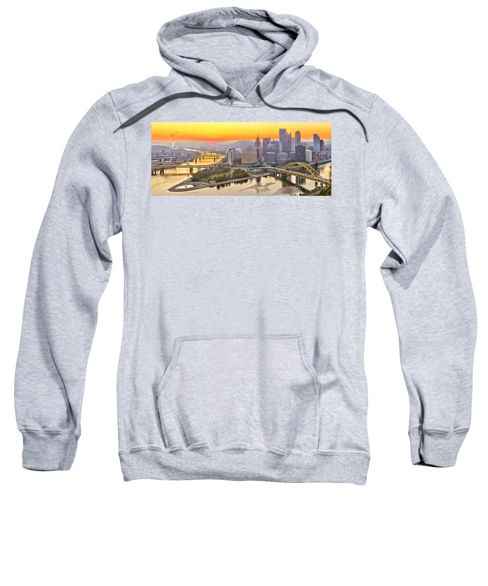 Duquesne Incline Sweatshirt featuring the photograph Pittsburgh Sunrise Panorama by Adam Jewell