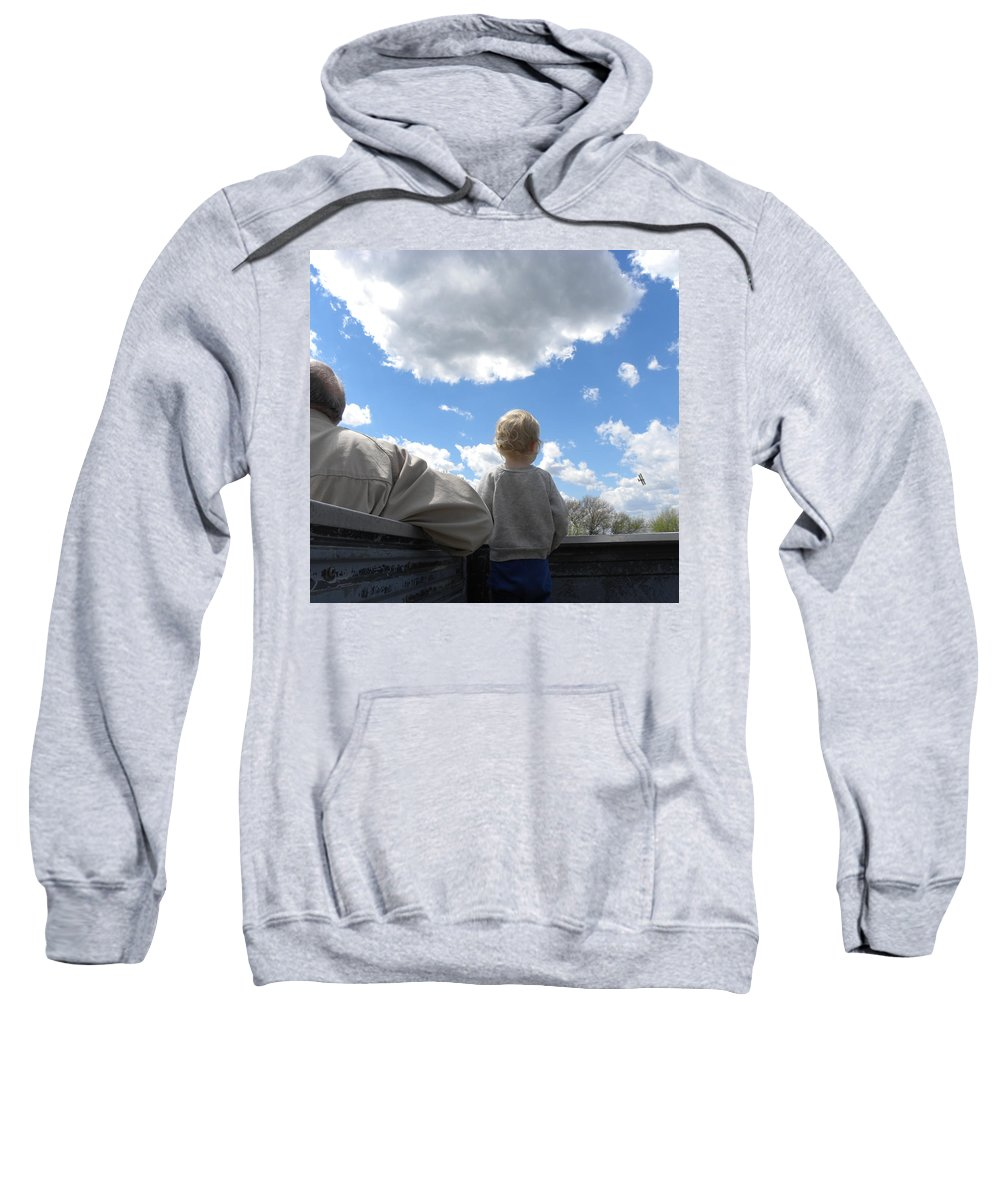 Plane Sweatshirt featuring the photograph Plane Viewing From The Truck Bed by Sheri Lauren