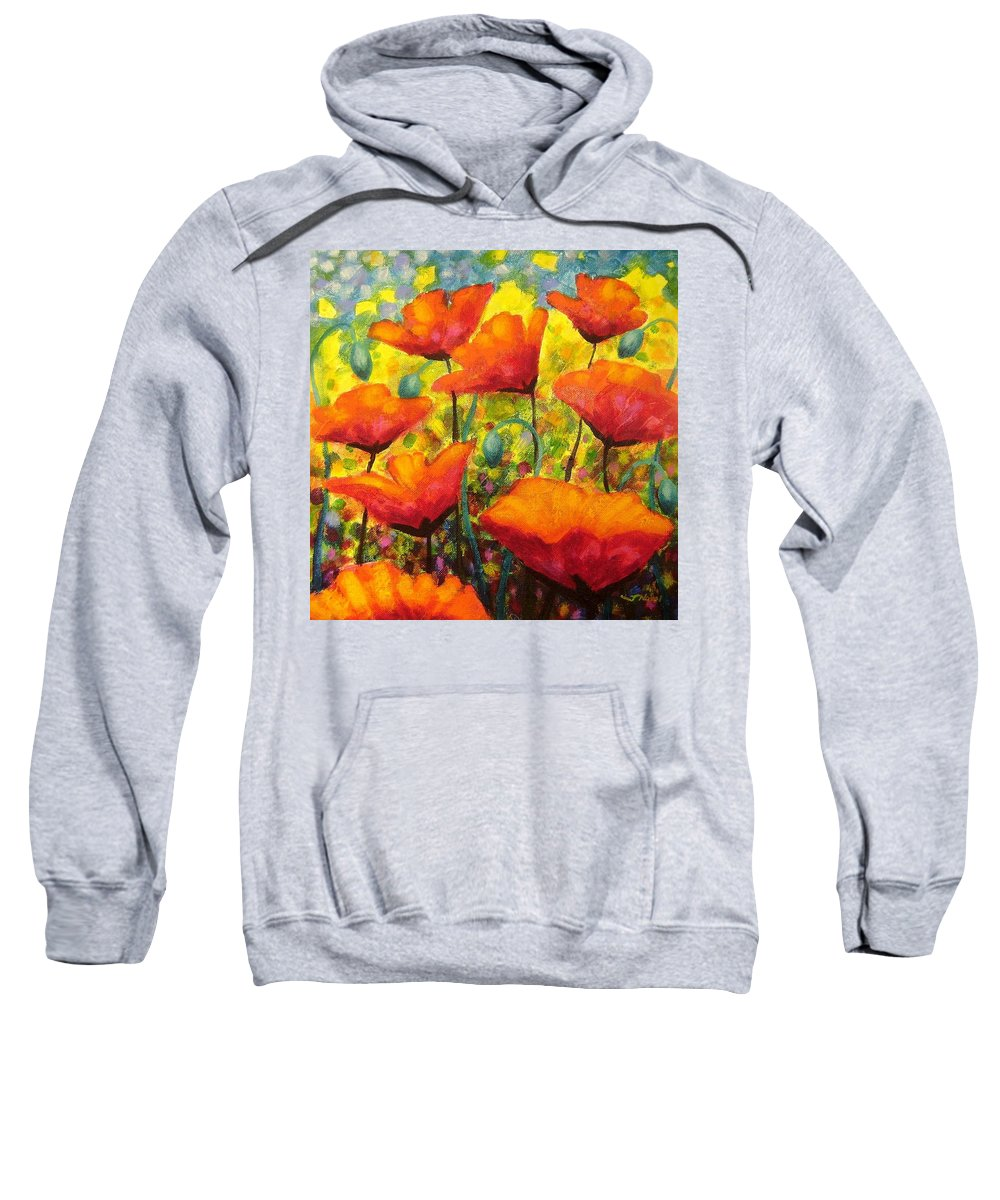 Poppies Sweatshirt featuring the painting Poppy Corner by John Nolan