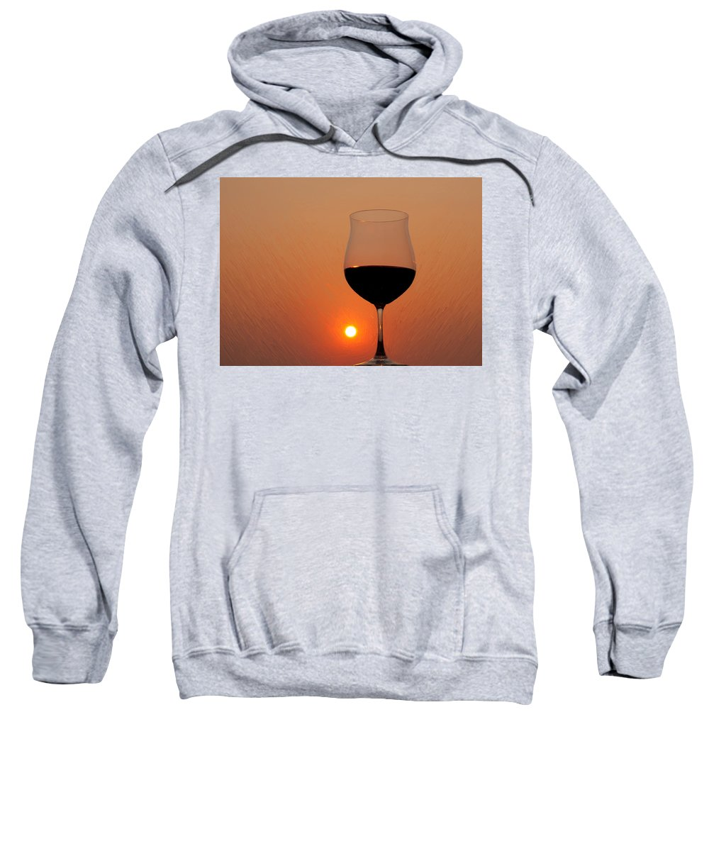 Painting Sweatshirt featuring the photograph Red Wine At Sunset by Martin Belan