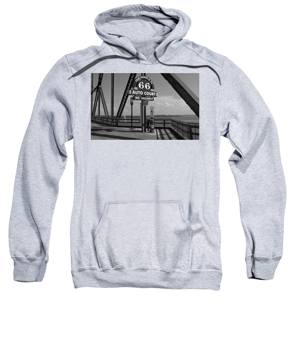 66 Sweatshirt featuring the photograph Route 66 - Chain Of Rocks Bridge And Gas Pump by Frank Romeo
