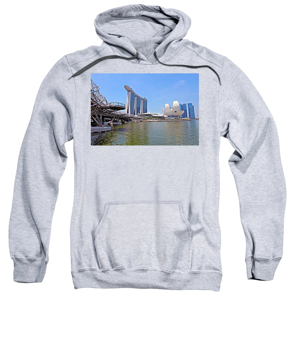Artscience Sweatshirt featuring the photograph Singapore Artscience Museum Double Helix Bridge And Marina Bay by Paul Fell