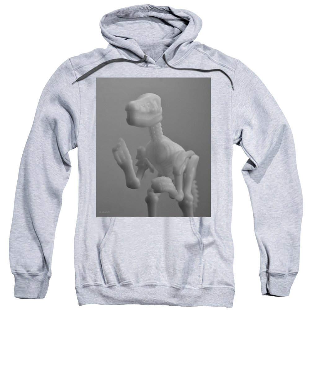 Dinosaur Sweatshirt featuring the photograph Skeleton Dinosaur In Black And White by Rob Hans