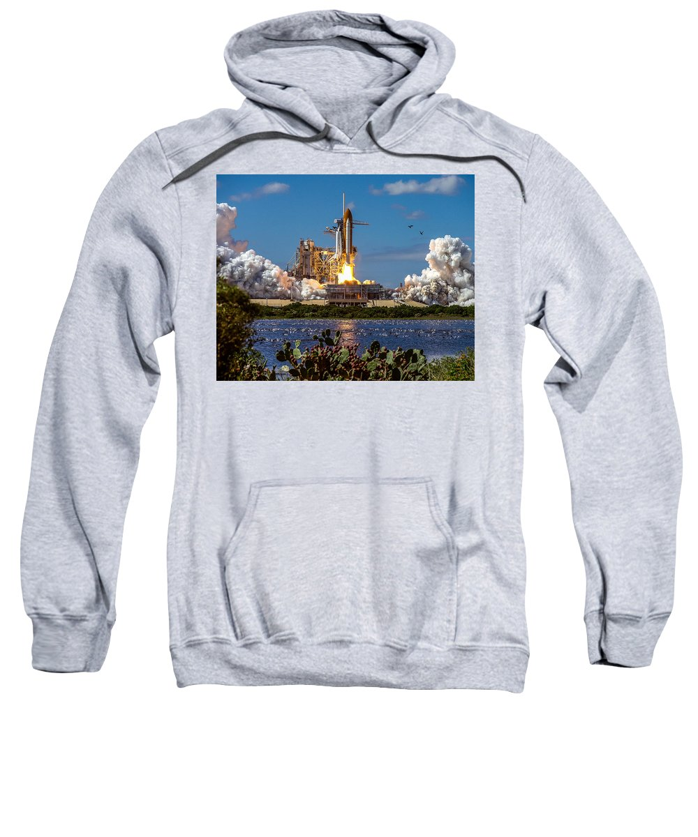 Space Shuttle Sweatshirt featuring the photograph Space Shuttle Atlantis Launch by Chad Rowe