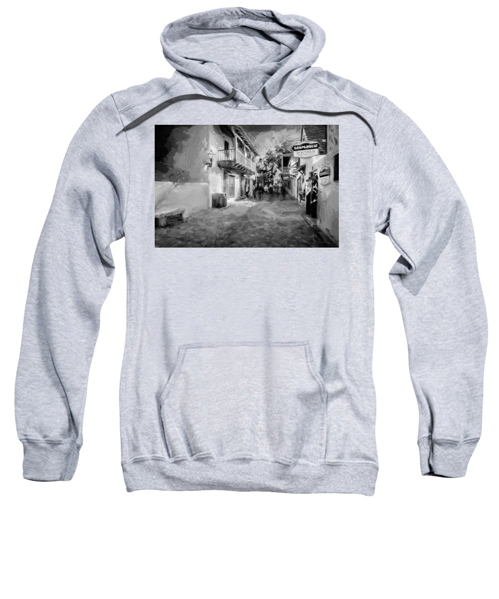 St. George Street Sweatshirt featuring the photograph St George Street St Augustine Florida Painted Bw by Rich Franco