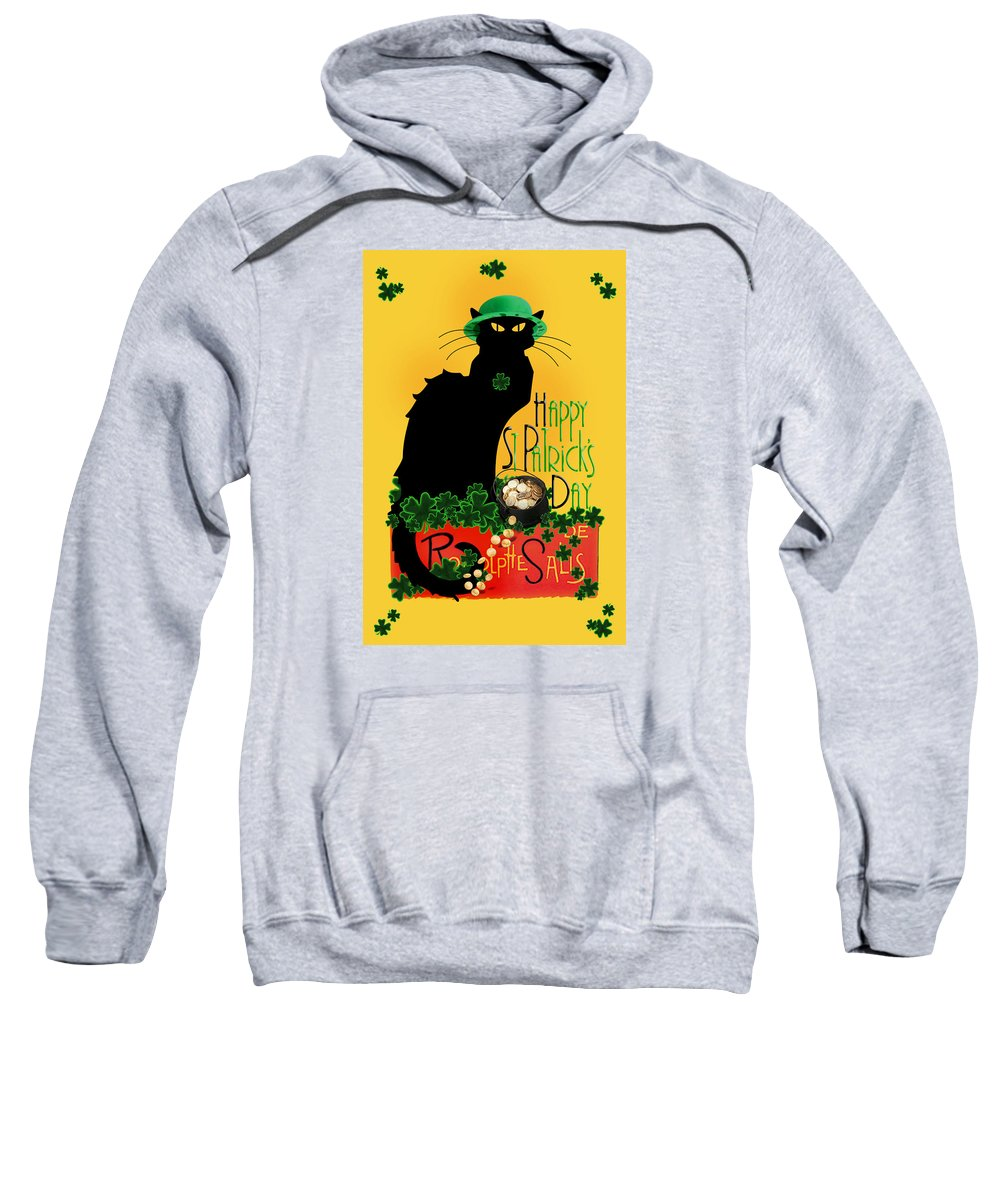 St Patrick's Day Sweatshirt featuring the digital art St Patrick's Day - Le Chat Noir by Gravityx9 Designs