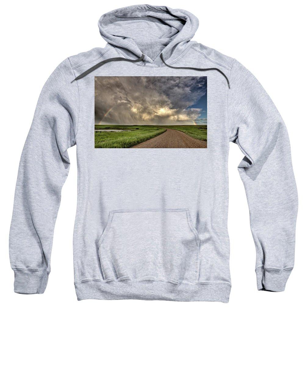 Nature Sweatshirt featuring the digital art Storm Clouds Prairie Sky Saskatchewan by Mark Duffy
