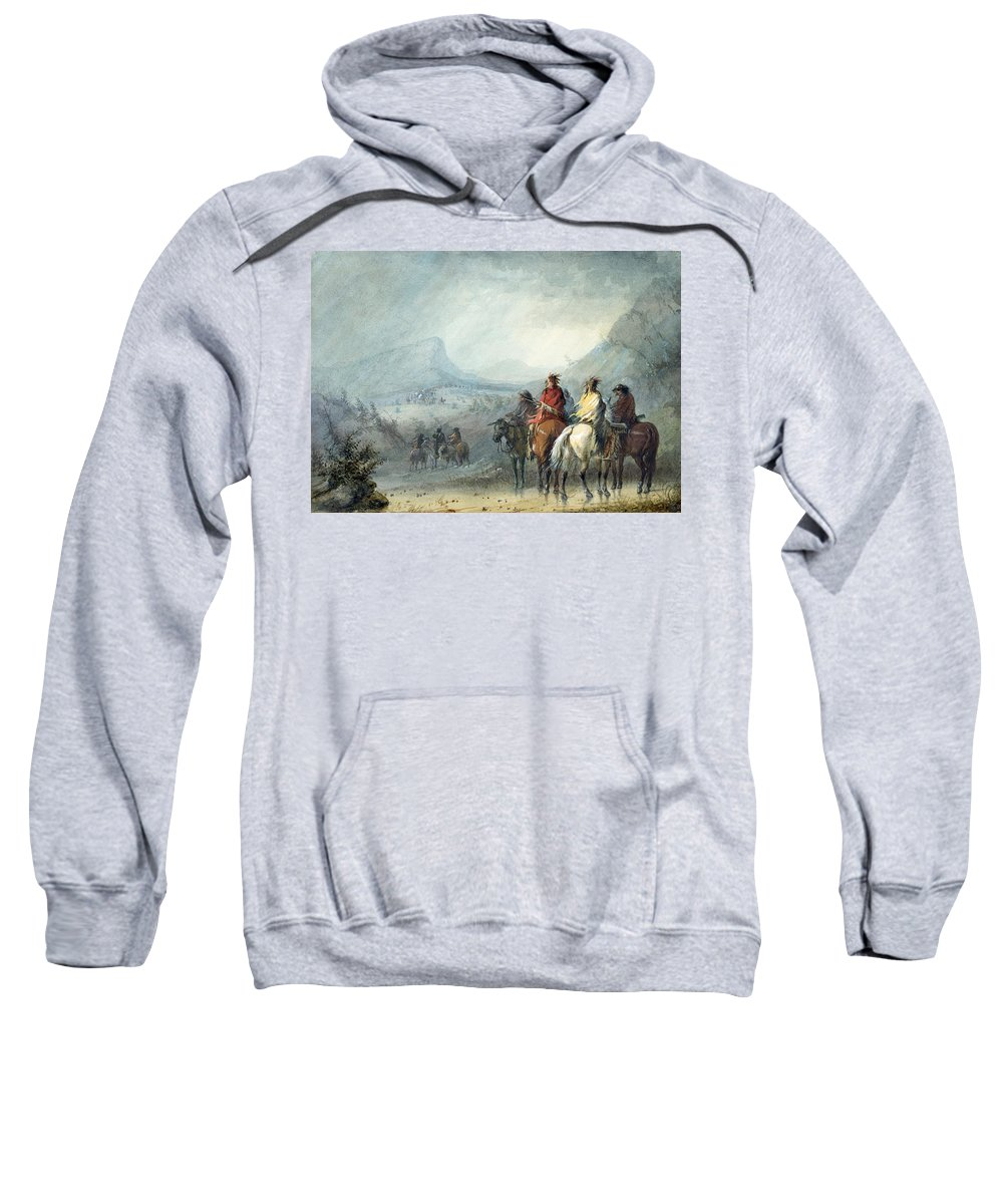 Alfred Jacob Miller Sweatshirt featuring the painting Storm. Waiting For The Caravan by Alfred Jacob Miller