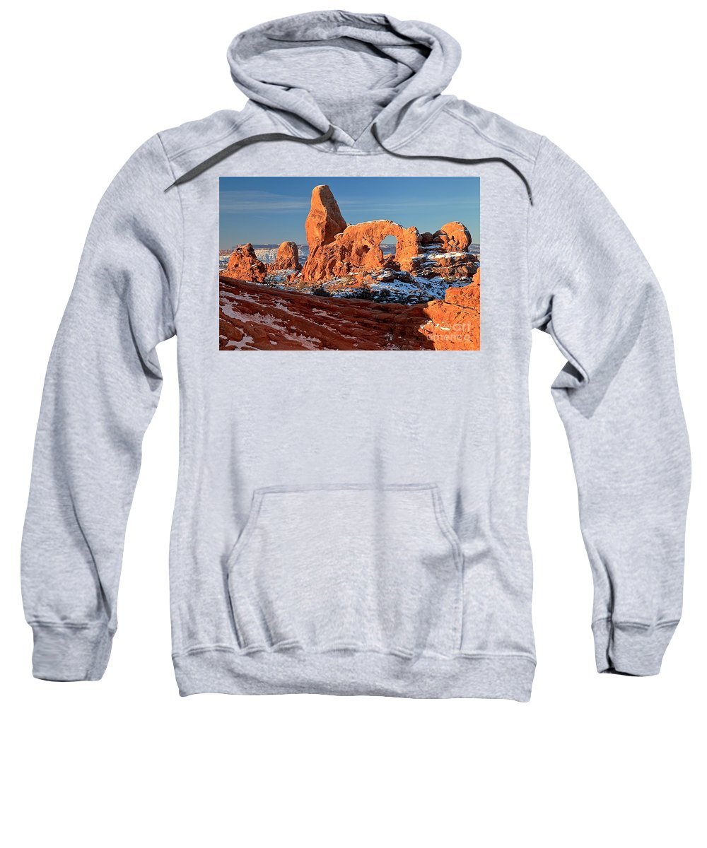 Turret Arch Sweatshirt featuring the photograph Sunrise At Turret Arch by Adam Jewell