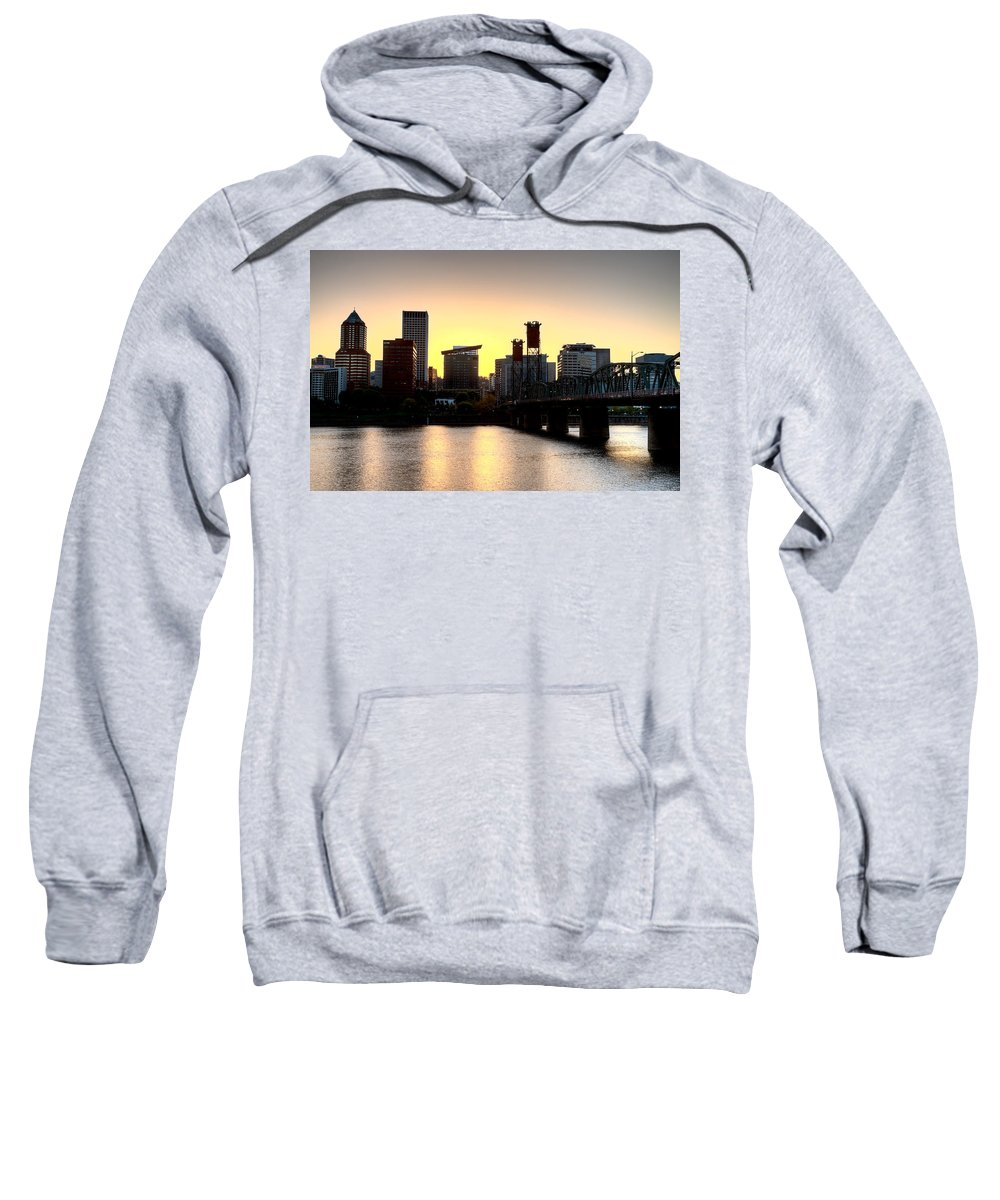 City Sweatshirt featuring the photograph Sunset Portland Oregon by Mark Duffy