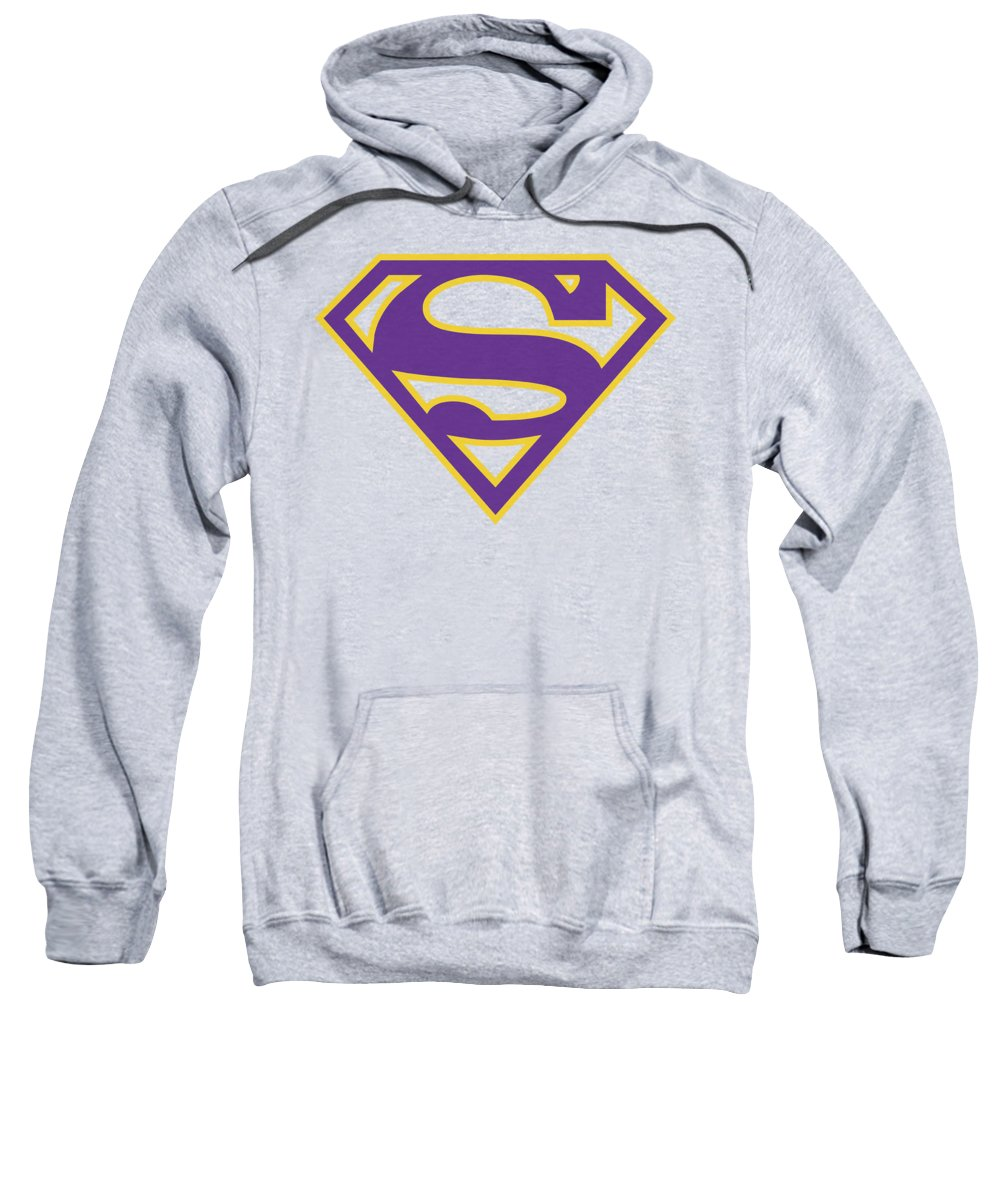 Superman Sweatshirt featuring the digital art Superman - Purple And Gold Shield 1 by Brand A
