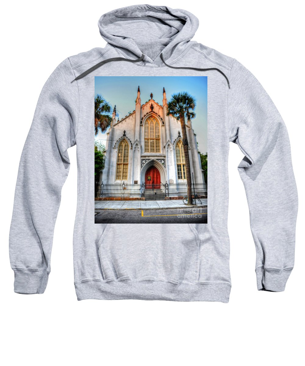 French Huguenot Sweatshirt featuring the photograph The French Huguenot Church by Dale Powell
