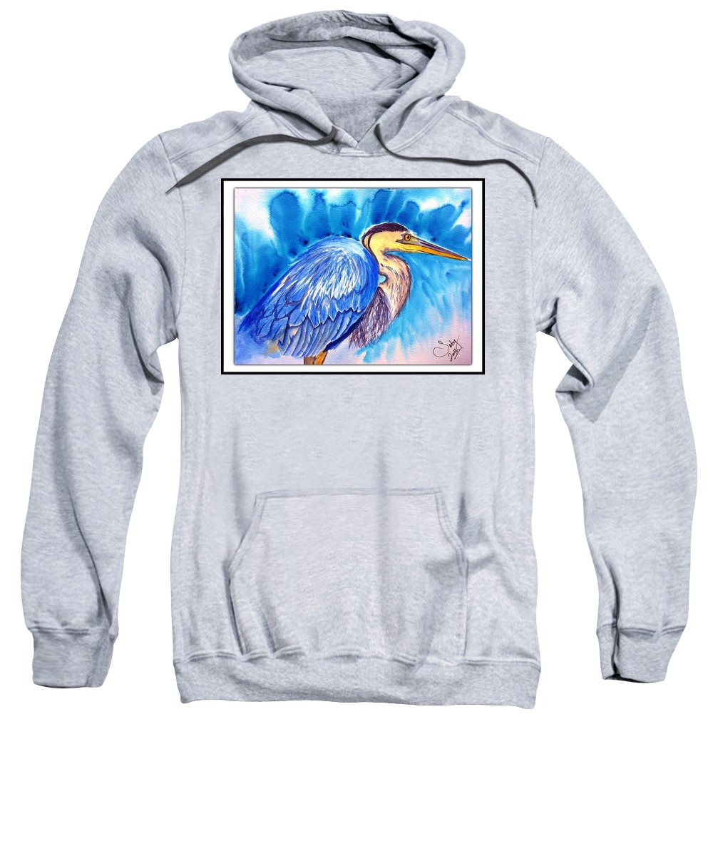 Tiger Sweatshirt featuring the painting The Great Blue Heron by Sarabjit Kaur