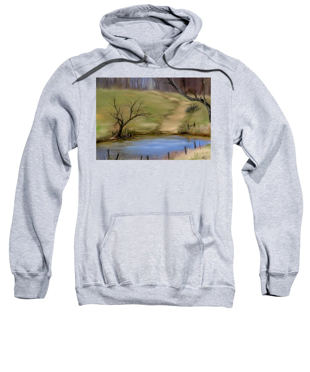 Pond Sweatshirt featuring the painting The Pond by Bonnie Willis