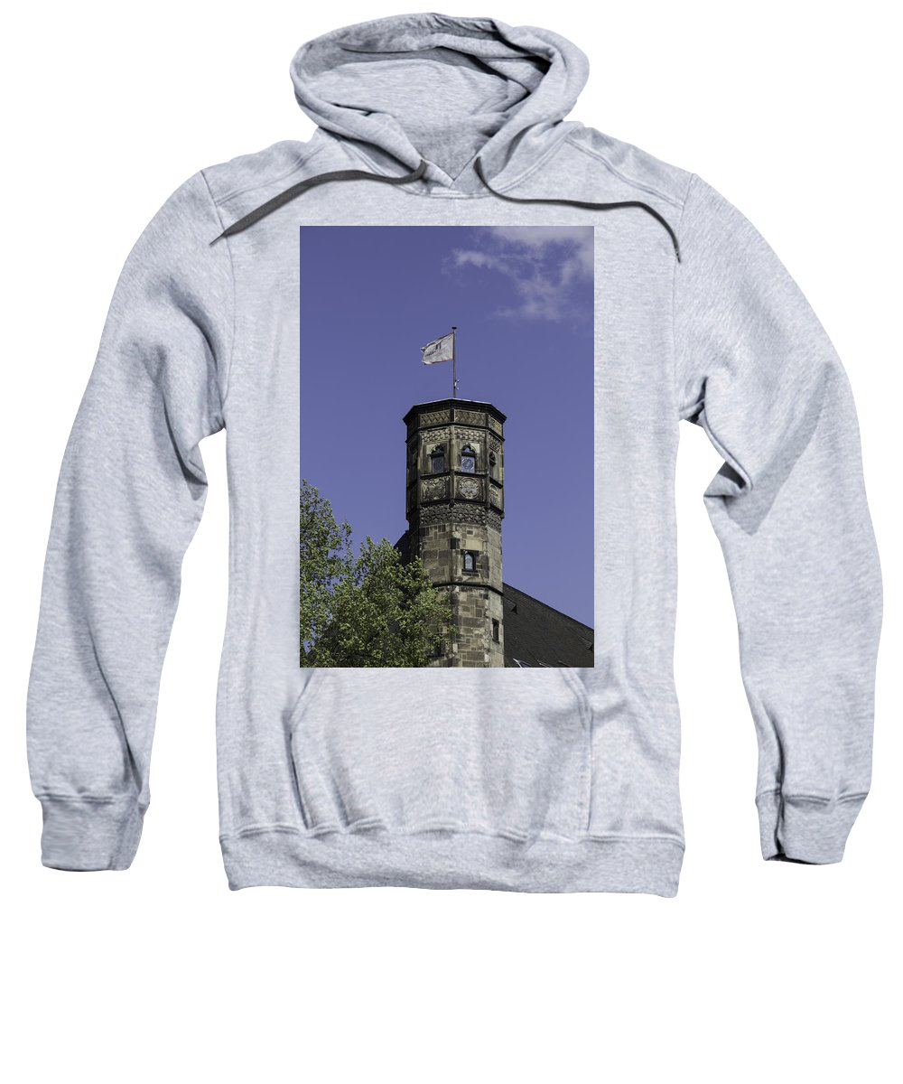 2014 Sweatshirt featuring the photograph Tower And Flag Cologne Germany by Teresa Mucha