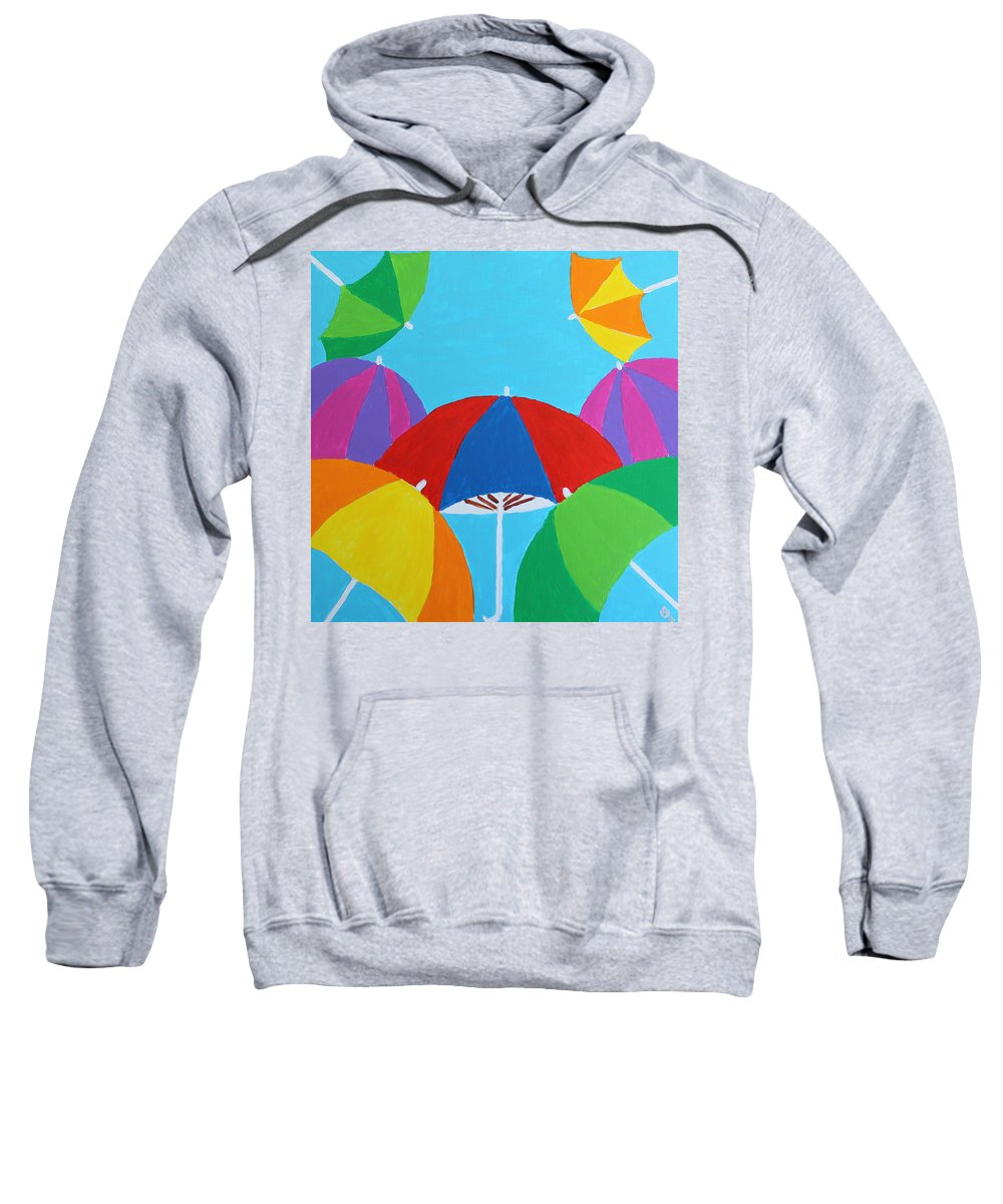 Umbrellas Sweatshirt featuring the painting Umbrellas by Deborah Boyd