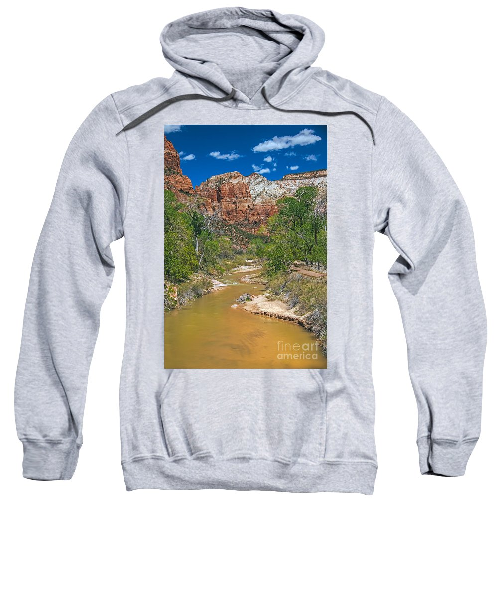 Zion National Parks Sweatshirt featuring the photograph Virgin River by Robert Bales