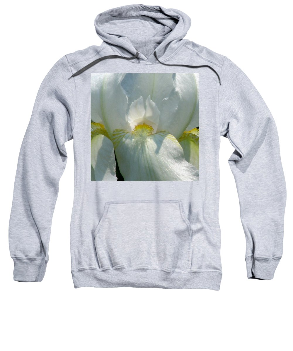 White And Yellow Sweatshirt featuring the photograph White And Yellow Iris 2 by David Hohmann