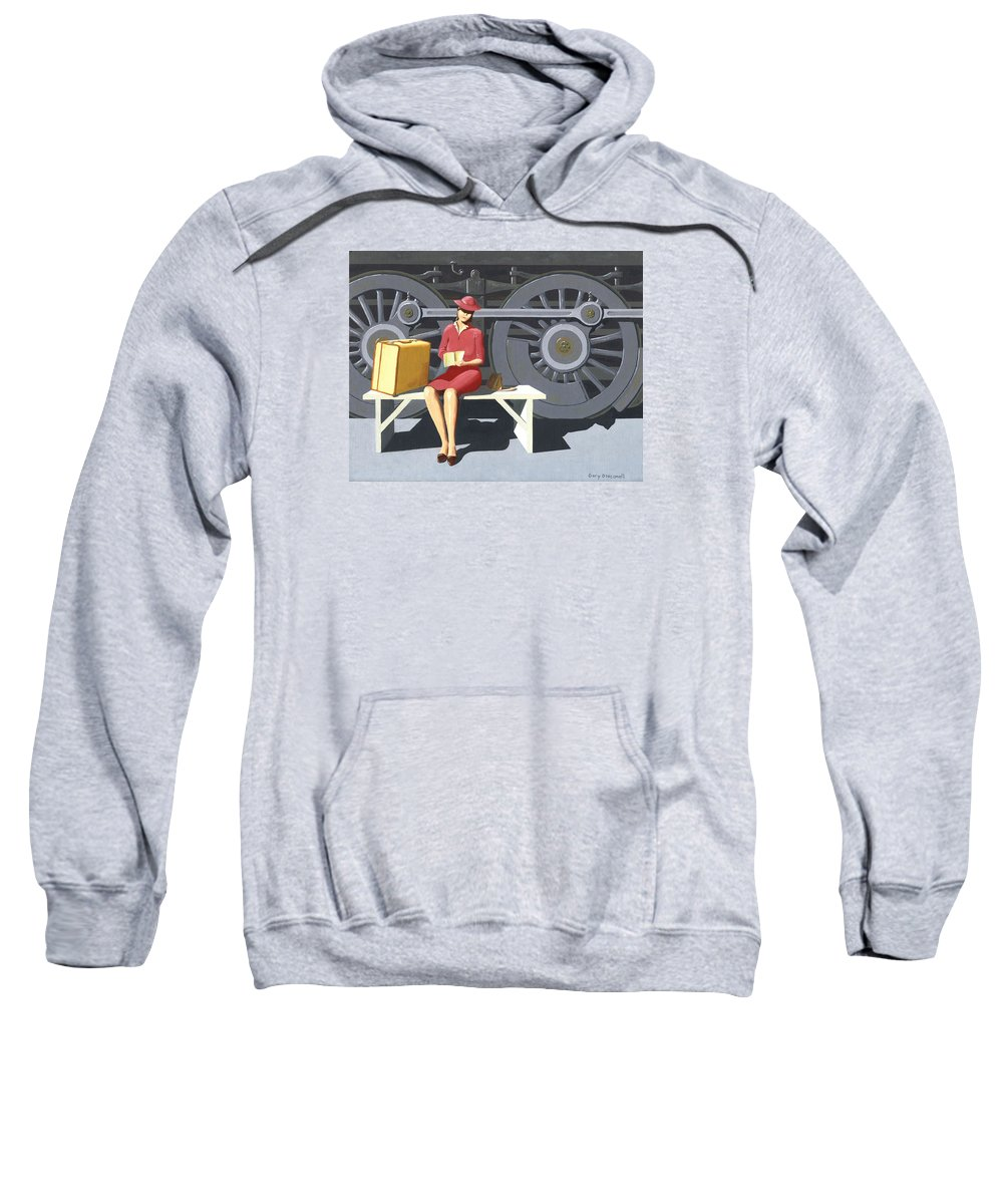 Woman Sweatshirt featuring the painting Woman With Locomotive by Gary Giacomelli