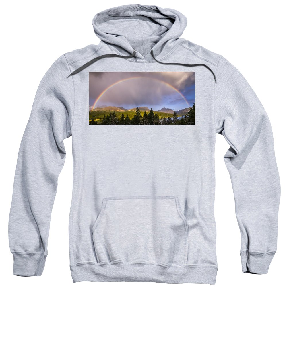 Glacier National Park Sweatshirt featuring the photograph 100801a-14 Two Medicine Rainbow by Albert Seger