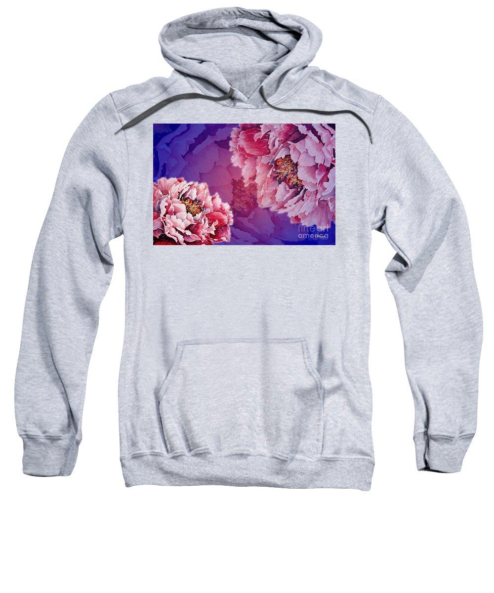 Peony Sweatshirt featuring the mixed media Peony by Zaira Dzhaubaeva