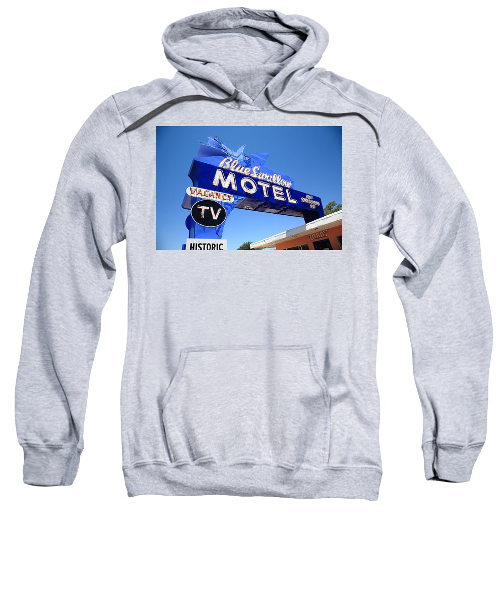 66 Sweatshirt featuring the photograph Route 66 - Blue Swallow Motel by Frank Romeo