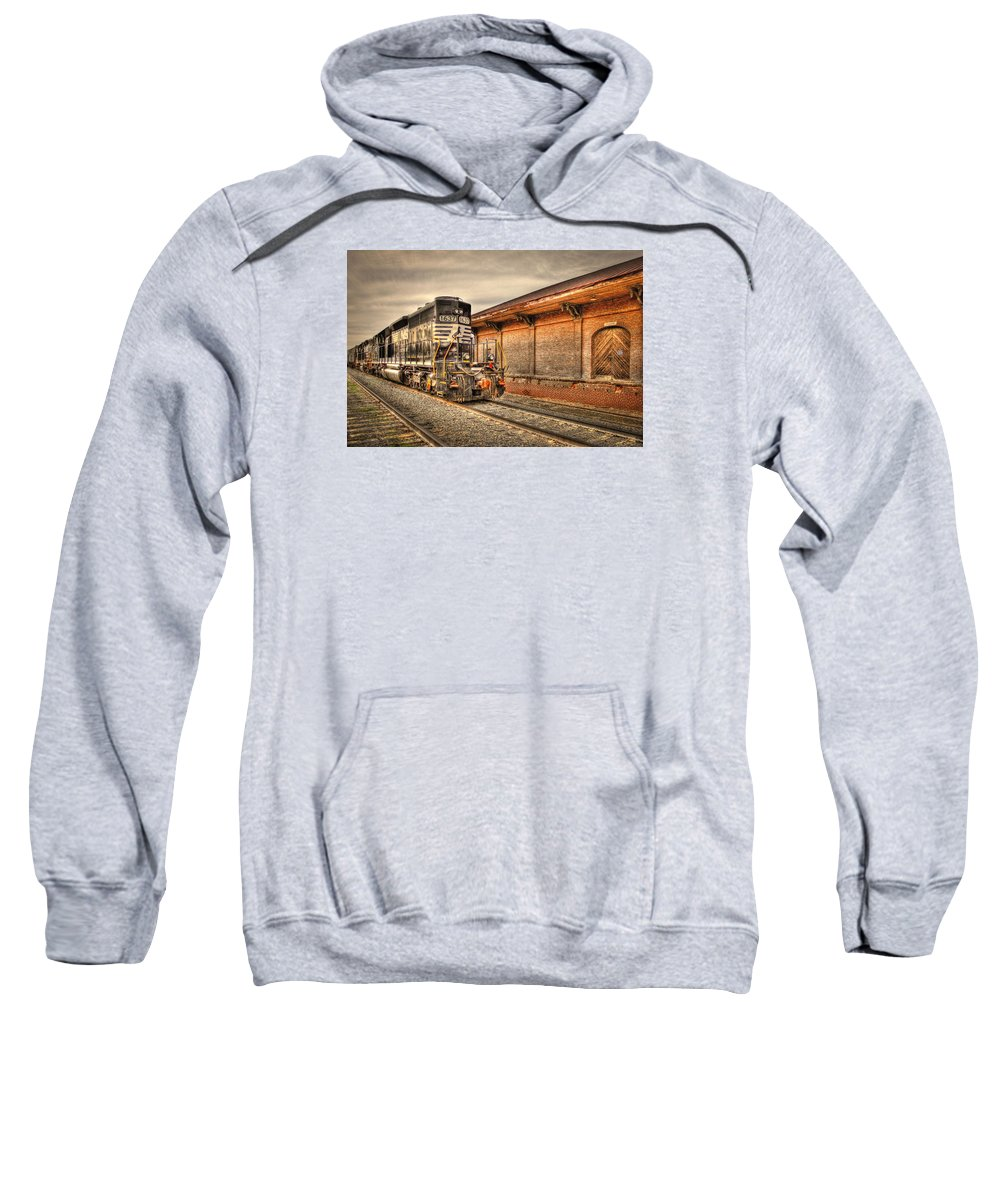 Reid Callaway Norfolk Southern Railway Sweatshirt featuring the photograph Locomotive 1637 Norfork Southern by Reid Callaway
