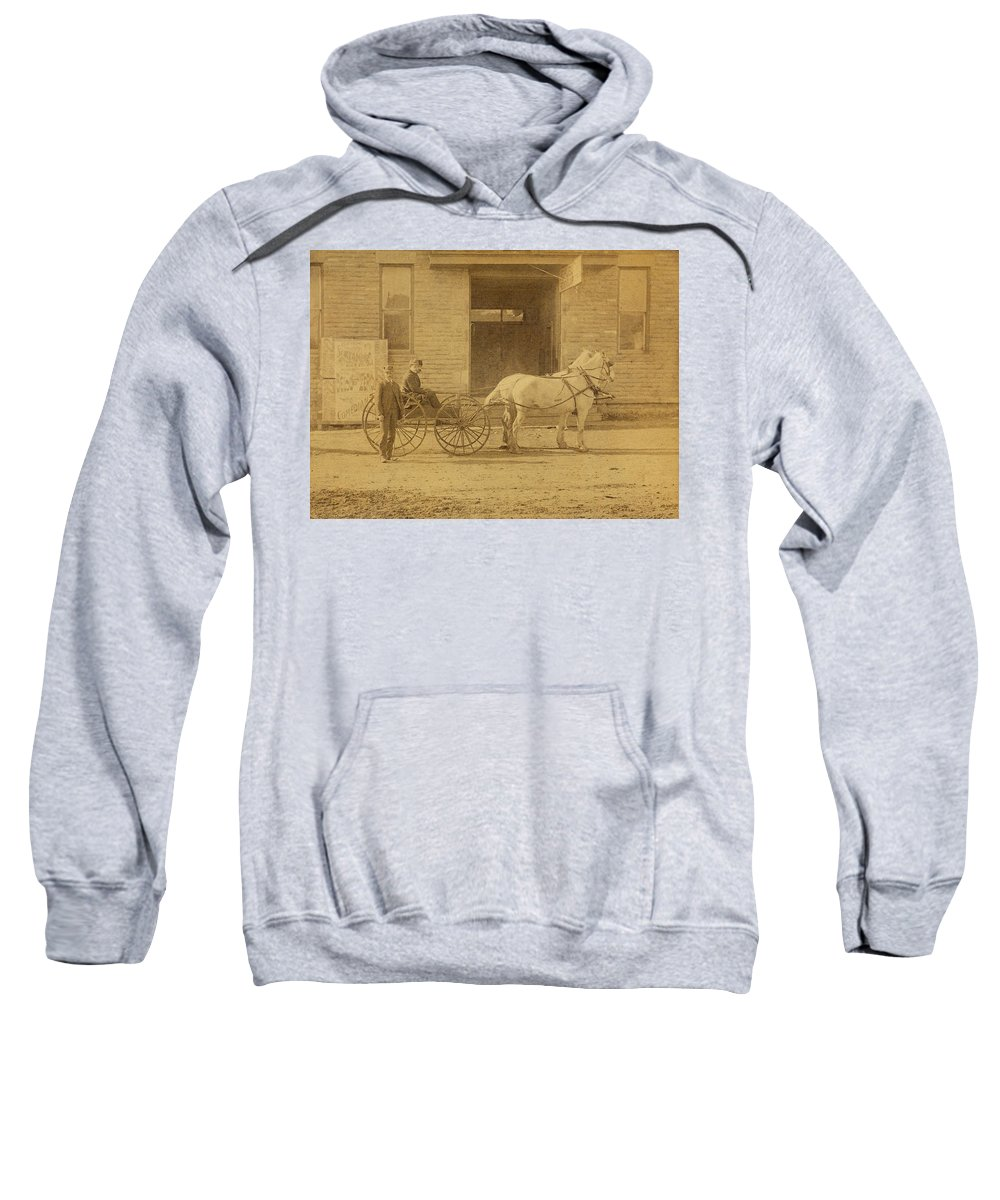 1800's Sweatshirt featuring the photograph 1800's Vintage Photo Of Horse Drawn Carriage by Charles Beeler
