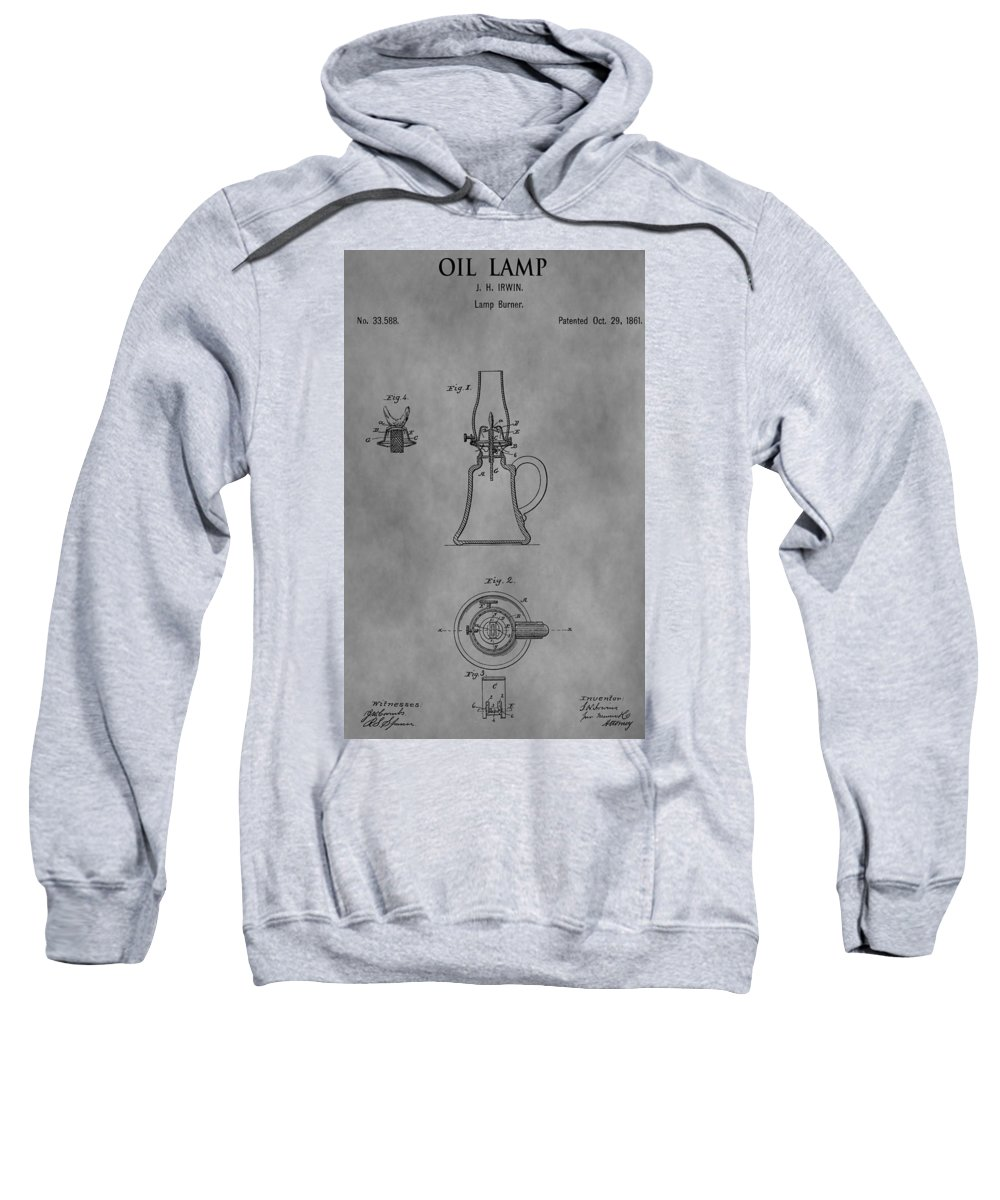 Oil Lamp Patent Sweatshirt featuring the drawing 1861 Oil Lamp Patent by Dan Sproul
