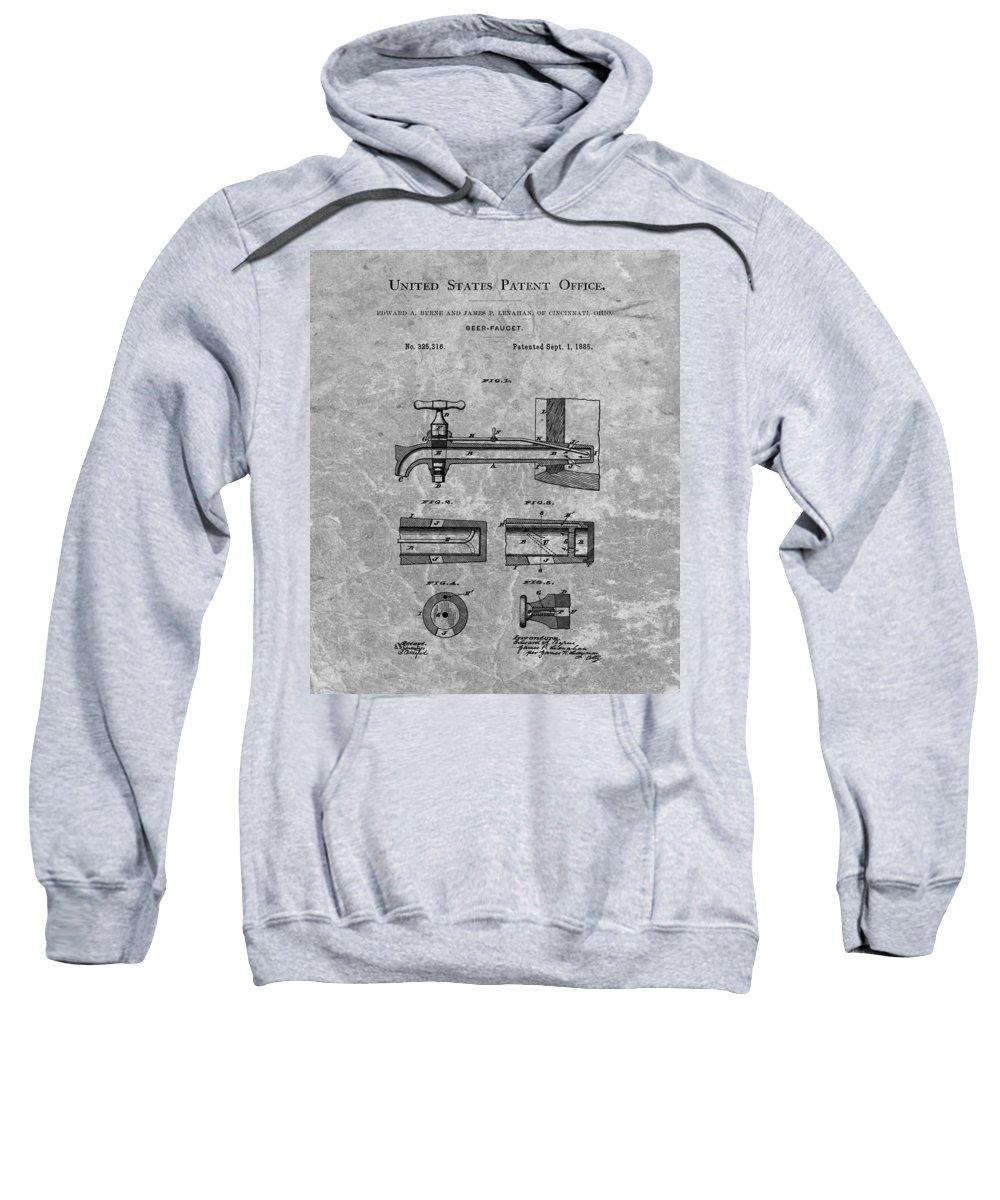 Beer Tap Patent Sweatshirt featuring the drawing 1885 Beer Tap Patent Charcoal by Dan Sproul