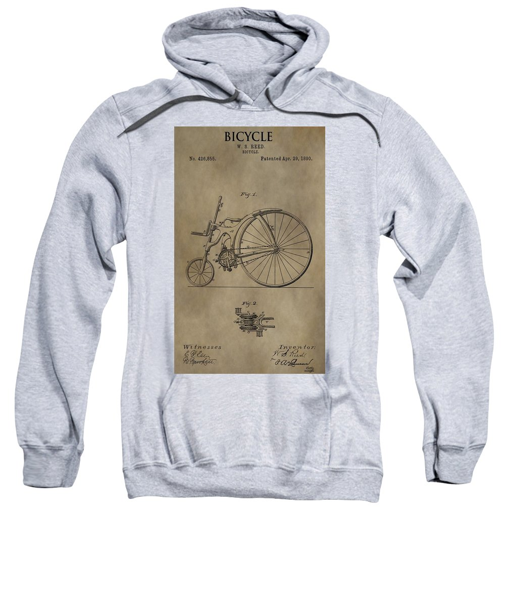 1890 Bicycle Patent Sweatshirt featuring the drawing 1890 Bicycle Patent by Dan Sproul