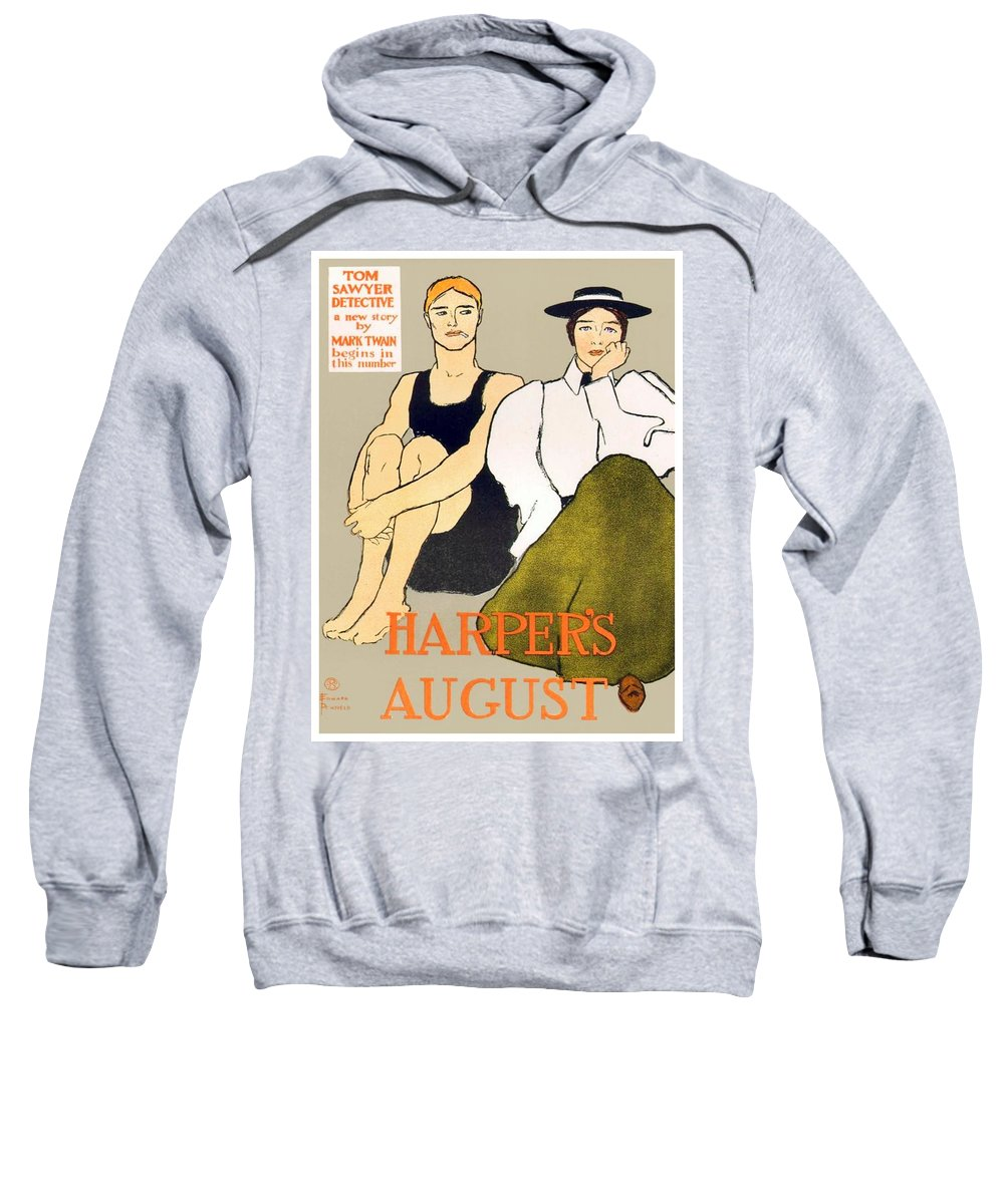 Poster Sweatshirt featuring the digital art 1897 - Harpers Magazine Poster - Color by John Madison