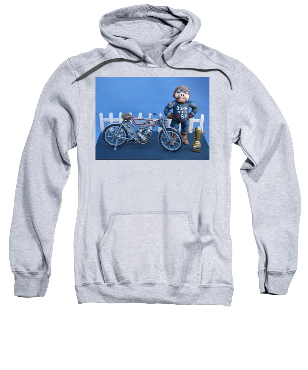 Motorcycle Sweatshirt featuring the sculpture 1909 Hog by Stuart Swartz