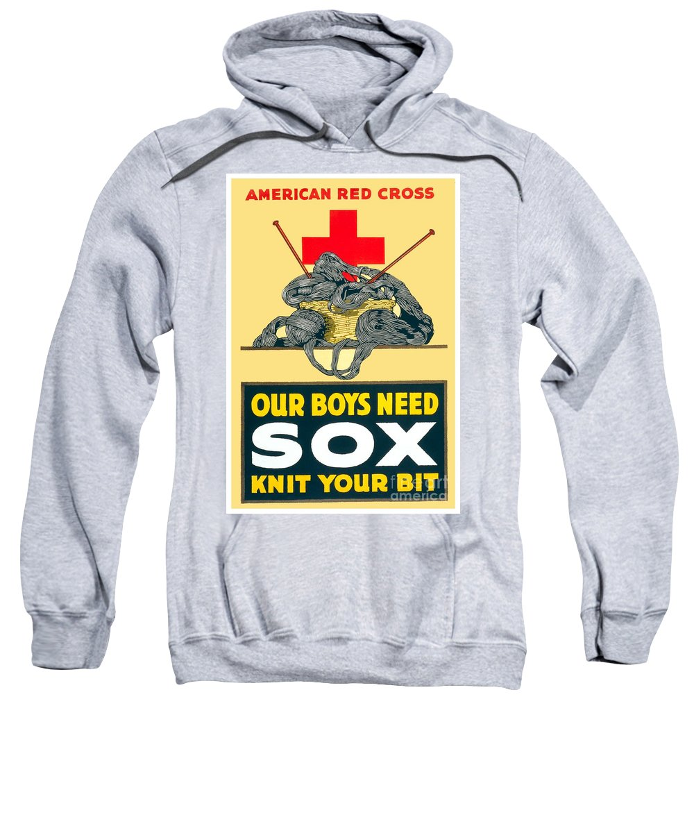 1917 Sweatshirt featuring the digital art 1918- Red Cross Poster - World War One - Color by John Madison