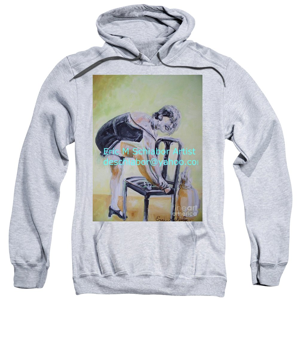 1920 Sweatshirt featuring the painting 1920s Girl by Eric Schiabor